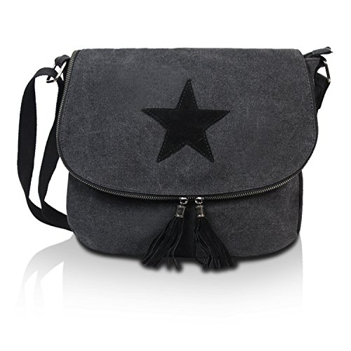Gloop Top Fashion Sterne Handtasche Schultasche Canvas KunstLeder Trend Tragetasche TS201701 23094 Schwarz