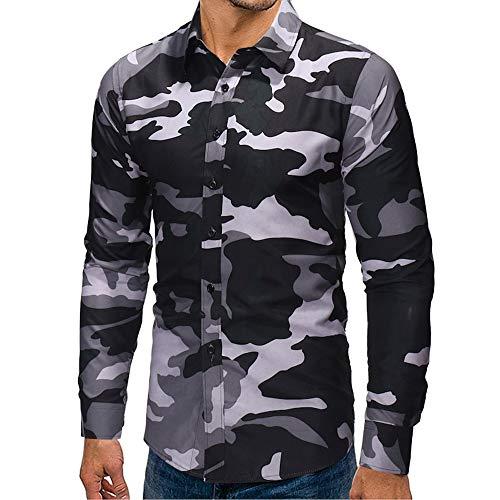 Bellelove-Kapuzenpullover Hemd Herren Camouflage Herren Langarm Destroyed Jeans-Hemd Denim Freizeit-Hemd Shirt