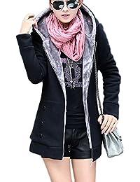 La Femme Est Capuche Ferme Épaisse Veste Gilet Sweat - Shirts Slim Digne D'hiver Avec Des Poches.
