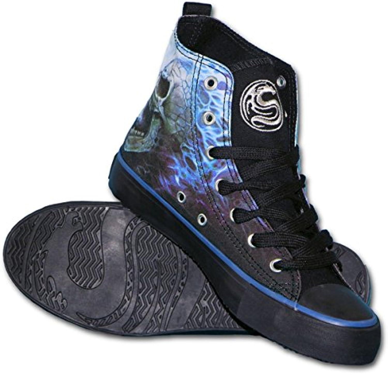 Spiral - Zapatillas para hombre negro negro y azul trenzado