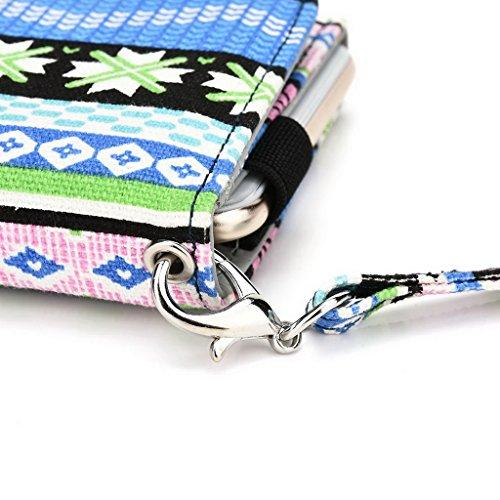 Kroo Téléphone portable Dragonne de transport étui avec porte-cartes pour HTC Desire 626/One (M8Eye) vert bleu