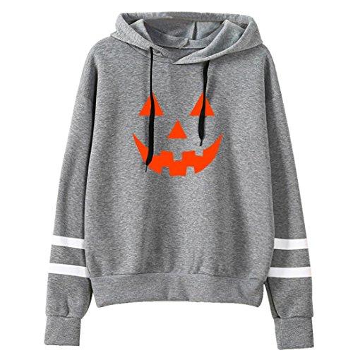 pullis, Keepwin Frauen Langarm Kapuzenpulli Sweatshirt Pullover Tops Kapuzen Bluse (S, Halloween | Grau) (Halloween Hoodies)