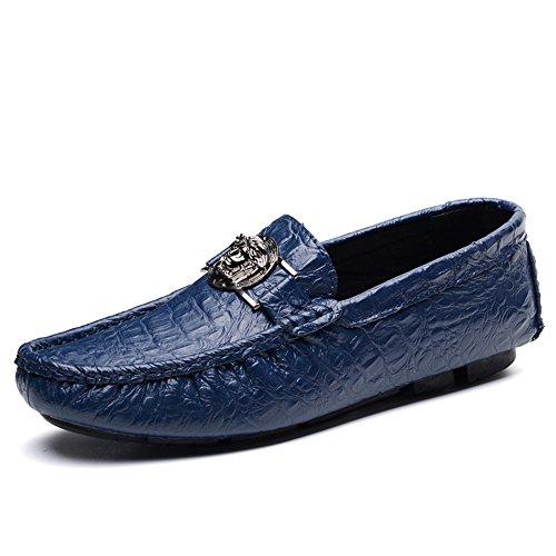 SHELAIDON Herren Men Loafers Shoes Mokassin Leder Schuhe Flache Slippers (EUR44,navy) (Navy Leder-loafer)