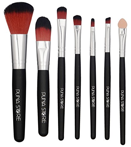 Puna Store Makeup Brush Set, 7 Pieces with Black Storage Pouch