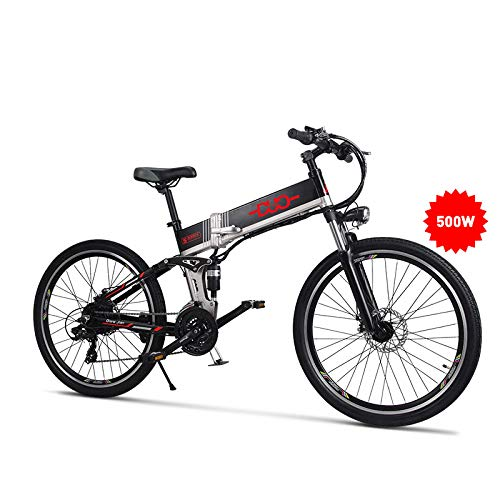 GUNAI Bicicleta de Montaña Eléctrica Plegable 26 Pulgadas Bicicleta 21 Speed con Freno de Disco y Suspensión Delantera y Trasera