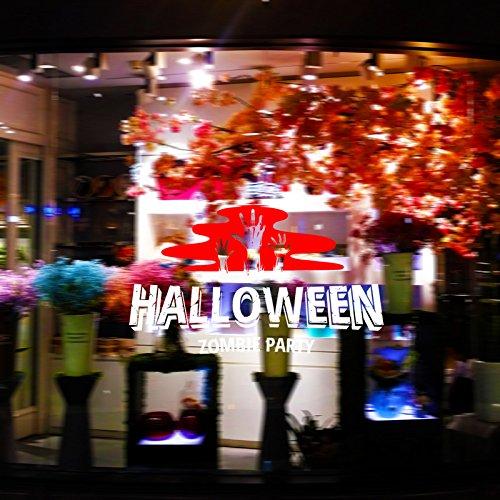 (EgBert Hallowen Zombie Party Schaufenster Glas Fenster Dekor Wandaufkleber Party Haus Dekoration Kreative Aufkleber DIY Wandbild Wandkunst Aufkleber - Rot & Weiß)