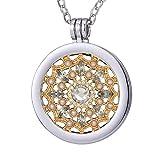Collar Morella de 70 cm de acero inoxidable y colgante con moneda de plata-oro 33 mm en bolsa de joyería
