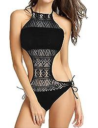 ac6327734d9d Damen Bademode, Frashing Frauen Push-up gepolsterter BH Spitze Bikini Set  Bademode Badeanzug Vintage Spitze Bikini Push Up Schwarz…