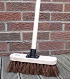"10"" Stiff Sweeping Yard Brush, Natural Hard Broom Stiff Brush with Handle"