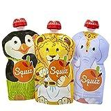 3er Pack Quetschie von SQUIZ 130 ml – der EINZIGE wiederverwendbare Quetschbeutel MADE IN SWITZERLAND, hält Dank patentiertem Druckverschluss garantiert dicht, für Smoothies, Joghurt oder Babybrei, BPA, BPS, PVC und Phthalate-frei