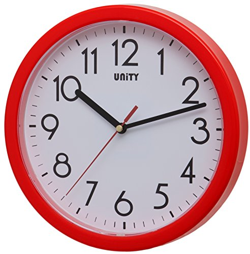 Unity Hastings 22 cm 21,8 cm Horloge Murale Moderne silencieuse, Plastique, Red, 22 x 22 x 3 cm