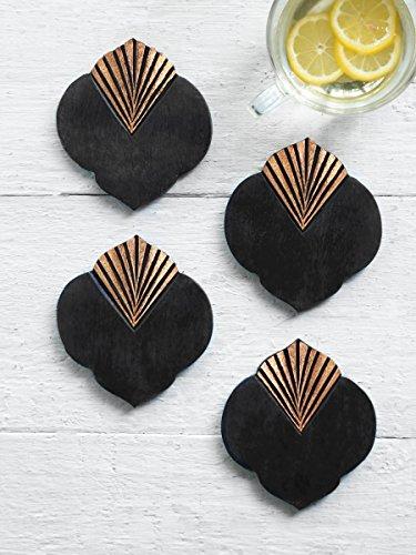 Store Indya, rustikale Holz Bar Untersetzer für Drink Set von 4 Tee Kaffeetasse Coasters Tabletop Barware Esszimmer Zubehör Home Decor verbrannt Finish mit Folie Inlay (Baum-form-kaffee-tische)