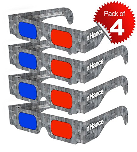 DOMO RB4B nHance for Anaglyph 3D Video Passive Cyan and Magenta Red & Blue Paper 3D Glasses (Pack of 4 pcs)  available at amazon for Rs.129