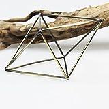 Rustic-Fioriera sospesa forma geometrica in metallo in stile rustico con supporto per piante Tillandsia per porta, in bronzo, a forma di vaso, colore: nero/bronzo, metallo, octahedron bronze, 20x16cm