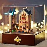Carrozza del castello Piccola casa fai-da-te modellata a mano modello di copertura in vetro LED night light music box regalo di San Valentino di Natale squisito tridimensionale artigianato decorativo