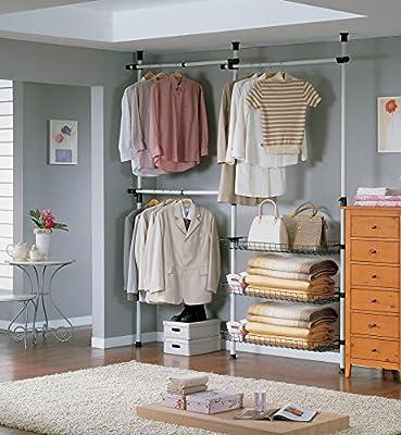 SoBuy® FRG34, Telescopic Wardrobe Organiser, Hanging Rail, Clothes Rack, Storage Shelving - cheap UK light shop.