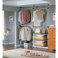 SoBuy® FRG34, Telescopic Wardrobe Organiser, Hanging Rail, Clothes Rack, Storage Shelving