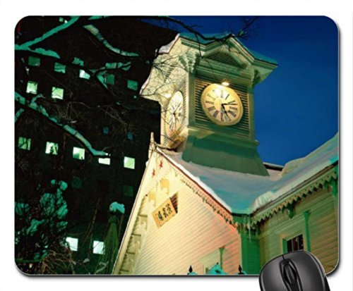 the-town-house-clock-mouse-pad-mousepad-houses-mouse-pad
