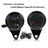 KKmoon Mtk2501 - Tachimetro doppio 13000 rpm, km/h, con lancetta LED, 12 V, universale per moto