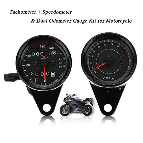 KKmoon 13000 RPM Tacómetro + Dual Odómetro Velocímetro Calibrador Km/h con Indicador...