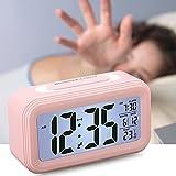 Lonzoth Smart Digital Wecker Snooze 5 Minuten, Digital-Wecker mit extra großem Display, Snooze, Datumsanzeige, Temperatur,Reiseuhr für Kinder Studenten und Erwachsene(Rosa)