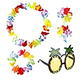sevenmye Set von 4Hawaiian Leis Flower Garland Fancy Kleid und 1Ananas Sonnenbrille Party Eyewear