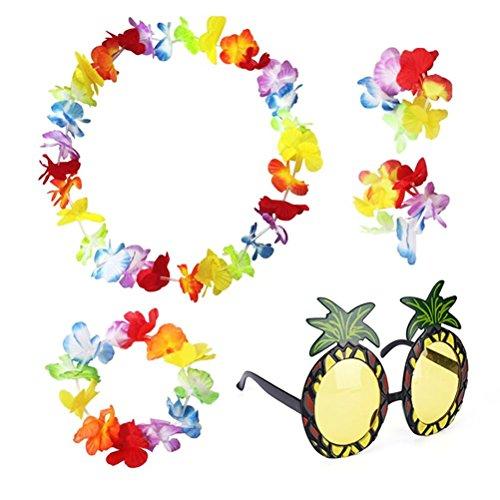 sevenmye Set von 4Hawaiian Leis Flower Garland Fancy Kleid und 1Ananas Sonnenbrille Party Eyewear (Luau Hawaiian Kleidung)