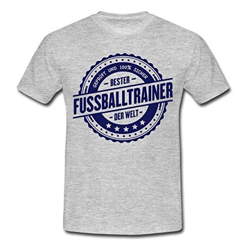 Spreadshirt Bester Fussballtrainer der Welt Auszeichnung Männer T-Shirt, L, Grau Meliert (Sportliche Auszeichnungen)