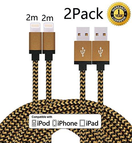 Roreikes 2 Pack (2m) mit Nylon umflochtenes verwicklungssicheres USB-Sync- Kabel Datenkabel Ladekabel Verbindungskabel für Apple iPhone 7,iPhone 7 Plus, iPhone 6 /6S/6 Plus/6S Plus/5/5S/5C/SE, iPad 4.Gen. iPad Mini/ipad Mini 2/3/,ipad Air/Air 2, iPod 5.Gen und iPod 7.Gen. Arbeitet mit neuesten iOS-Update (2 Pack, Gold + Schwarz)