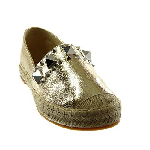 Angkorly Damen Schuhe Espadrilles - Slip-On - Nieten - Besetzt - genarbtem - Seil Blockabsatz 2.5 cm Gold