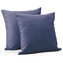 mDesign Set of 2 Decorative Cushion Covers – Hypoallergenic Pillow Cases with Velvet Feel and Quilted Look – Soft Sofa Cushion Covers Without Insert – Dark Blue