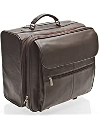 hideonline Marrón de cuero maleta/bolsa de negocios con ruedas