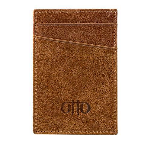 Dockers Taschen (OTTO Dünn Echtes Leder Kartenhalter Brieftasche für Männer - RFID-BLOCKEN - Mehrere Schlitze für Kredit, Lastschrift, Bank und Business-Karten, Geld und Führerschein (Braun))