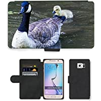 Grand Phone Cases PU Leather Flip Custodia Protettiva Case Cover per // M00141021 Canada Goose Goose Chicks Animaux // Samsung Galaxy S6 (Not Fits S6 Edge)