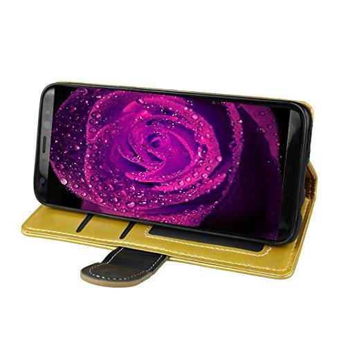 Étui Galaxy S8 Plus Cuir Case, Folio Coverture Galaxy S8 Plus G9550 Bookstyle Coque, Moon mood® Couvrir Cas Housse en PU Cuir pour Samsung S8 Plus 6.2 pouces Telephone Portable Etui Cas Fermeture Magn 2-or