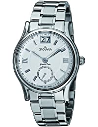 GROVANA 1725.1132 Men's Quartz Swiss Watch with Silver Dial Analogue Display and Silver Stainless Steel Bracelet