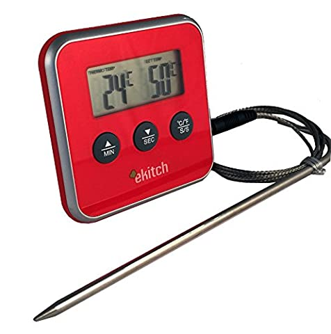 eKitch digital food probe thermometer & timer for food, wine, meat - great in oven cooking gadget for Roasting Perfection every time (Red)