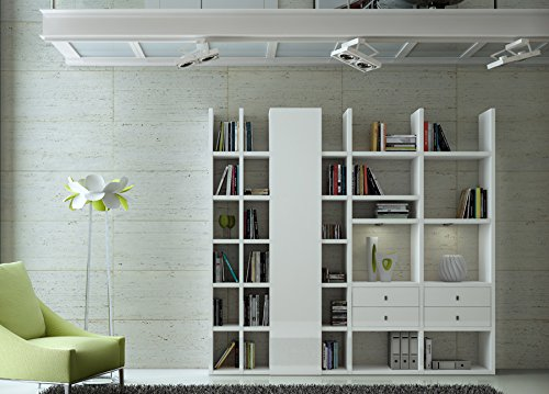 Wohnwand Bücherregal CD DVD Regal TOLEO238 Hochglanz weiß, LED