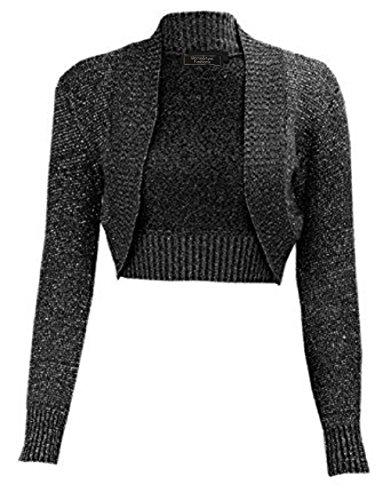 Damen Mädchen Lurex Metallic Ribbed Collar Geerntet Shrug EUR Größe 36-54 (S/M (EUR 36-38), Schwarz)