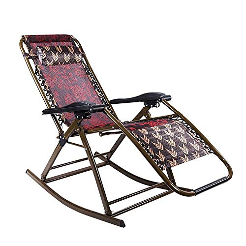 Metall-breit-stuhl (HhGold Schaukelstühle faltende Recliners justierbare Rückenlehne mit Armlehne Nickerchen-Bett-Mittagspause-Büro-älterer Stuhl-Balkon-Garten-entspannender Sonnenliege-Stuhl-Metall, 66 * 95 * 98cm)