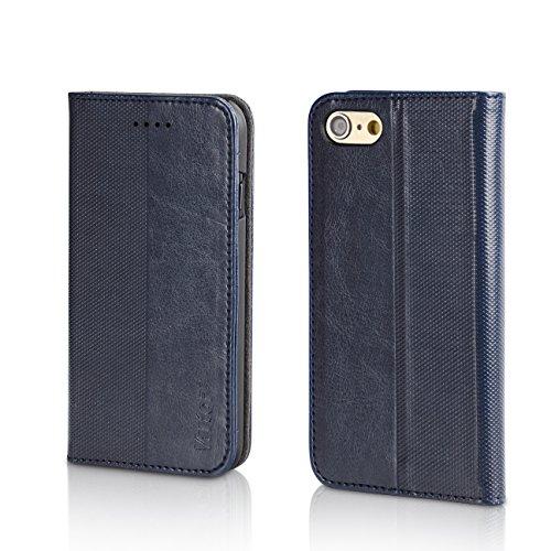 """Cover iphone 7, Veetop® custodia iphone 7, custodia portafoglio iphone 7( 5.5"""") con chisura magnetica, realizzata in pelle di alta Qualità, Design Elegante (Blu scuro), 24 mesi di Garanzia!"""
