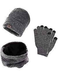 heekpek Wintermütze Herren Mütze Touchscreen Handschuhe Beanie Warme Mütze Strickmütze Winterschal Herren mit