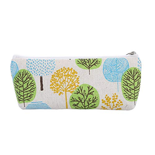 DarweirlueD Canvas Pencil Case,Lovely Cat/Sailboat/Leaf/Tower Design,Stationery Storage Zipper Bag Perfect for Pen Pencil Ruler Eraser Tape Leaves