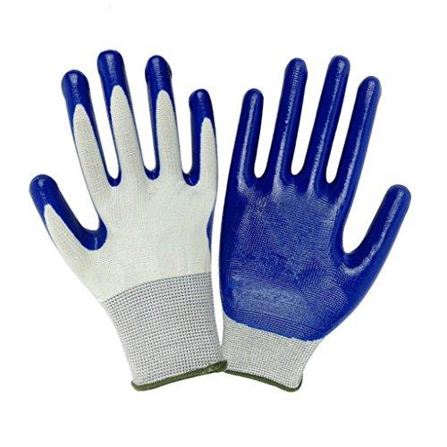 Hearsbeauty guanti protettivida giardinaggio duraturi impermeabili resistenti alle spine antiscivolo colore blu e bianco