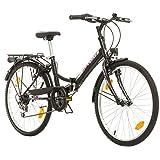 Multimarca, Folding City 24 Lady, 24 Pulgadas, 457 mm, Bicicleta de Montaña Plegable, 18 velocidades, para Mujeres, Niña, Guardabarros Delantero y Trasero, Lustre Blanco Lilac-Gris (Negro-Rosa)