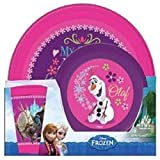 DISNEY CHARACTER CHILDRENS KIDS 3 PIECE PLASTIC BREAKFAST SET CAMPING PICNIC DINNER TUMBLER CUP BOWL AND PLATE (Disney Frozen Anna Elsa Olaf)