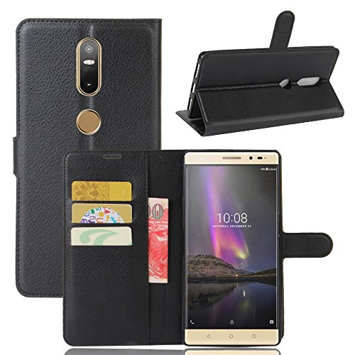 Tasche für Lenovo Phab 2 Plus Hülle, Ycloud PU Ledertasche Flip Cover Wallet Case Handyhülle mit Stand Function Credit Card Slots Bookstyle Purse Design schwarz