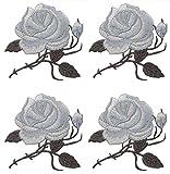 4 Stück Patches Stickerei Rose Blume Applique Stickerei Eisen auf Patches Stoff Aufkleber Abzeichen für Kleidungsstück Cheongsam DIY Zubehör