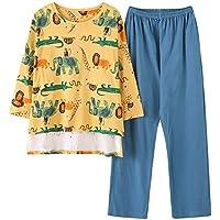 DUKUNKUN Pijamas Ropa De Hogar Conjunto De Manga Larga Pantalones Elásticos De Cintura Pijamas De Salón De Algodón-M