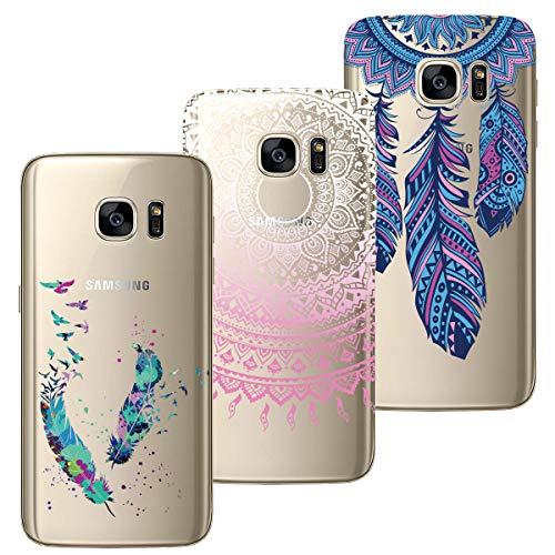 HopMore Compatible for Cover Samsung Galaxy S7 Edge Silicone Morbide Trasparente con Disegni Mandala Fiore Custodia Morbido Trasparenti Antiurto Gomma TPU Case Ultra Slim Caso Protettiva - Design B